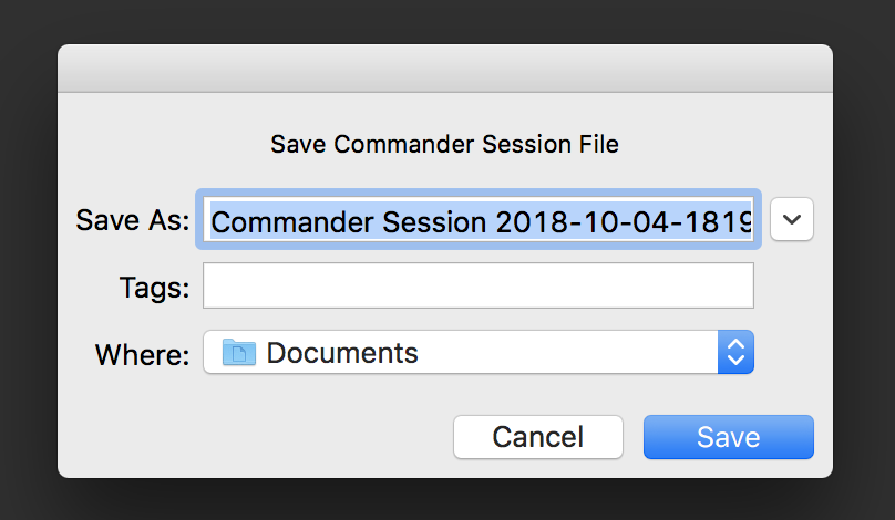 session record save file dialog